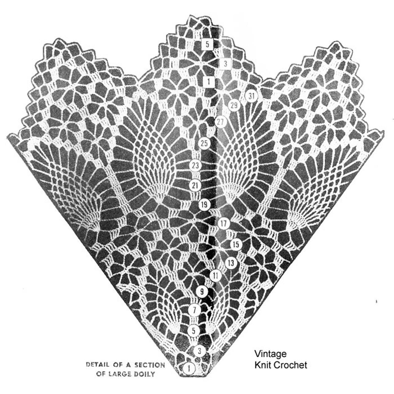 Large Pineapple Doily Illustration, Design 7165