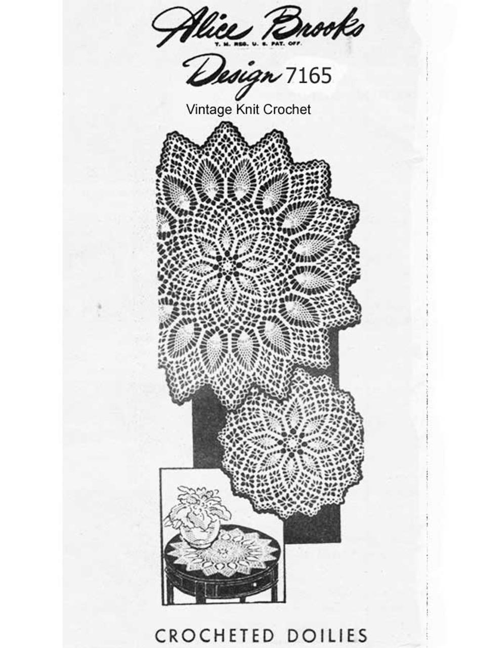 Pineapple Centerpiece Crochet Doily Pattern, Alice Brooks 7164