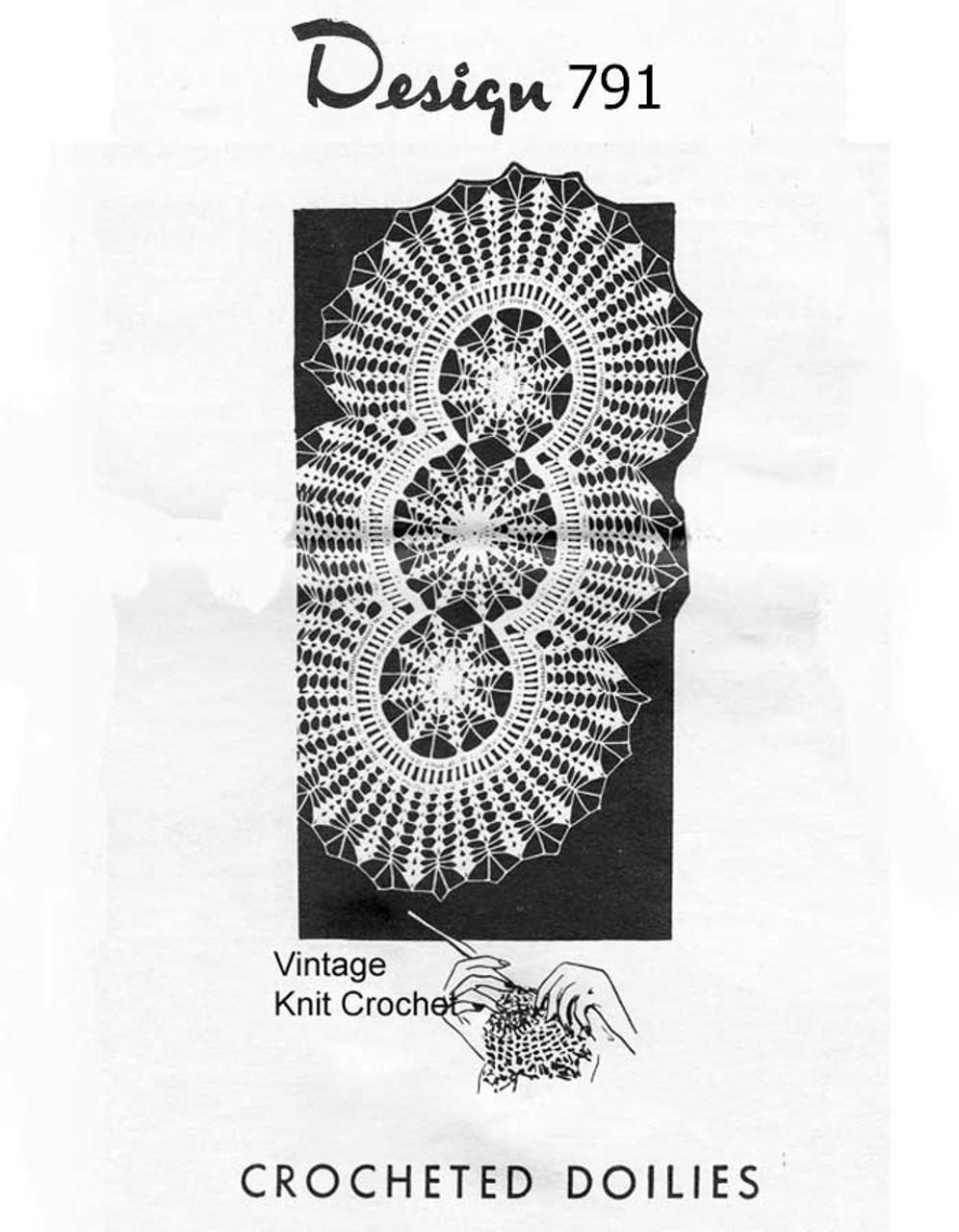 Petal Stitch Crocheted Oval Doilies Pattern Design 791