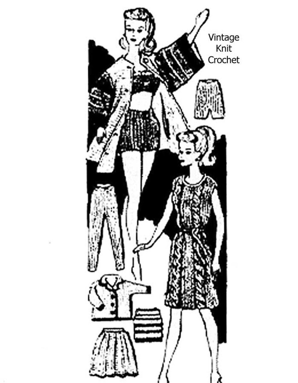 Barbie Doll Clothes Knitting Pattern Design 959
