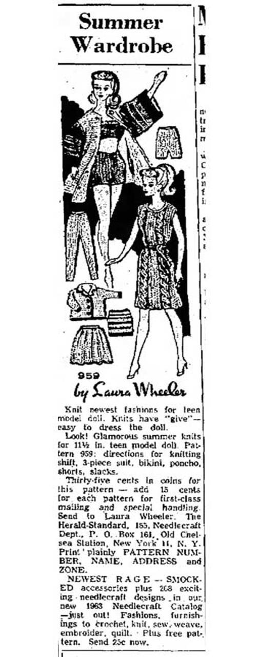 Knitted Fashion Doll Wardrobe Design 959