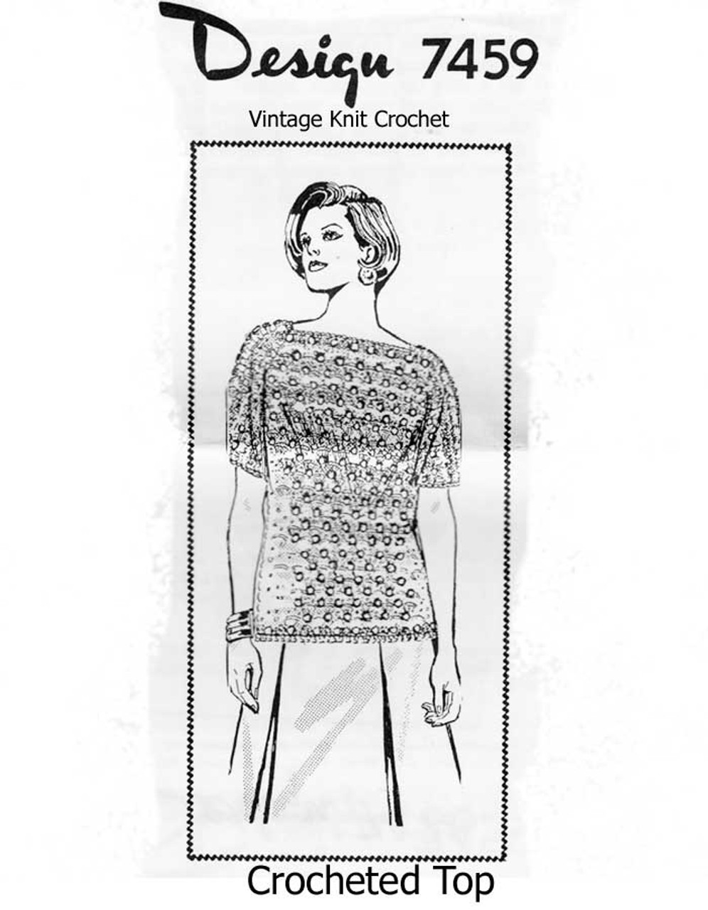 Easy Crocheted Top Pattern in Shell Stitch Design 7459