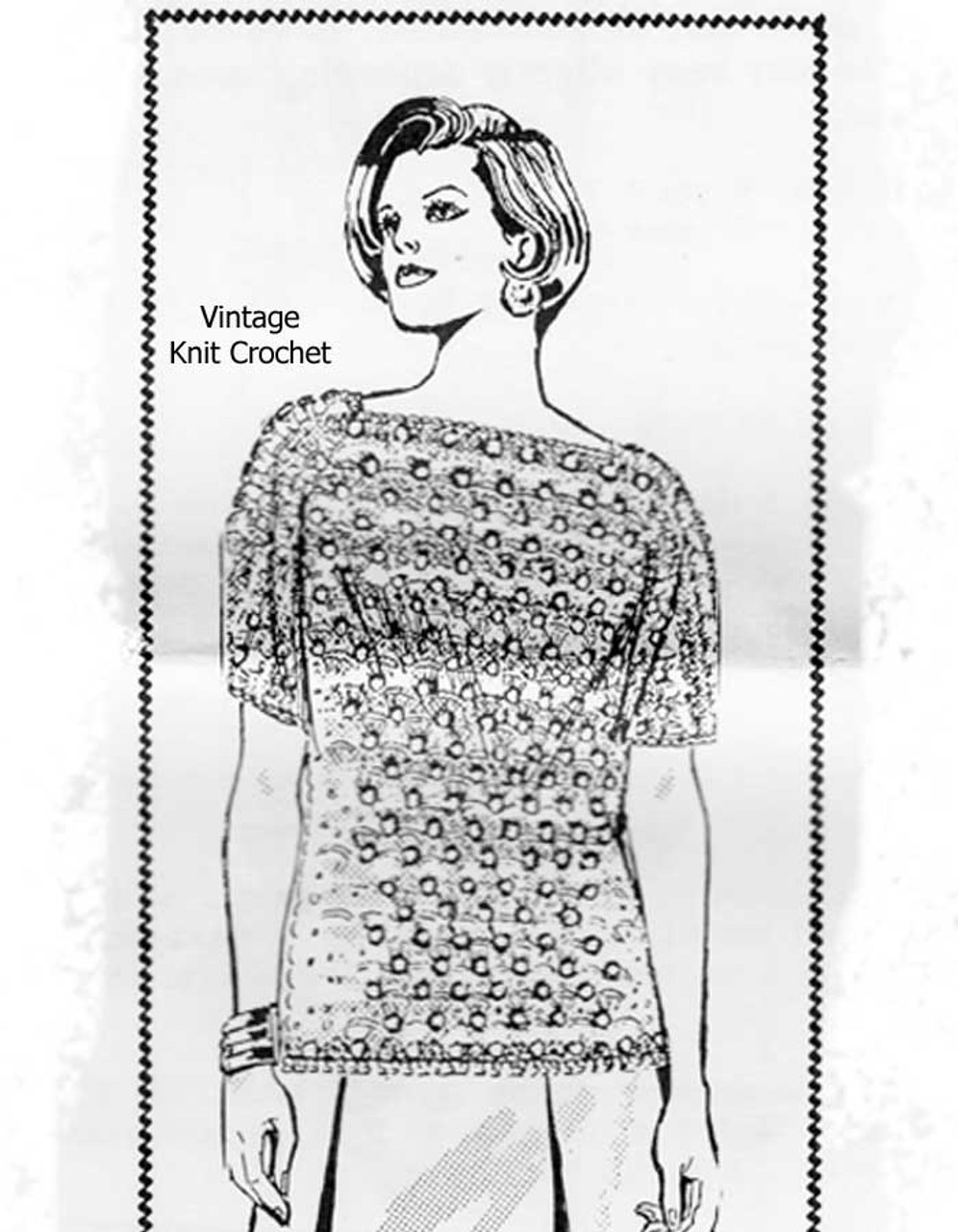 Easy shell stitch crocheted top pattern, Mail Order Design 7459