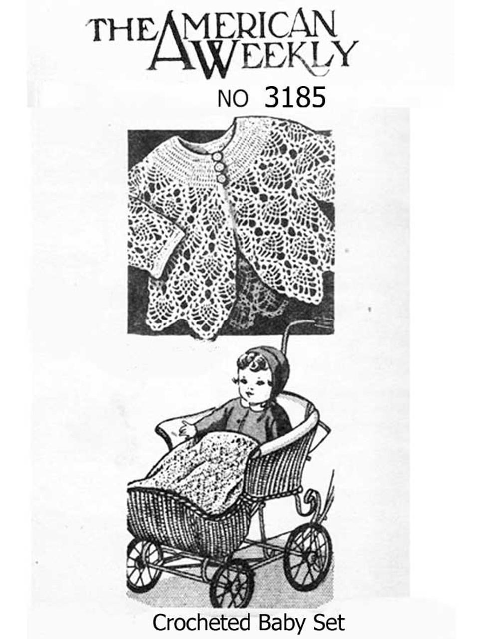 Vintage Pineapple Crochet Baby Blanket Pattern No 3185