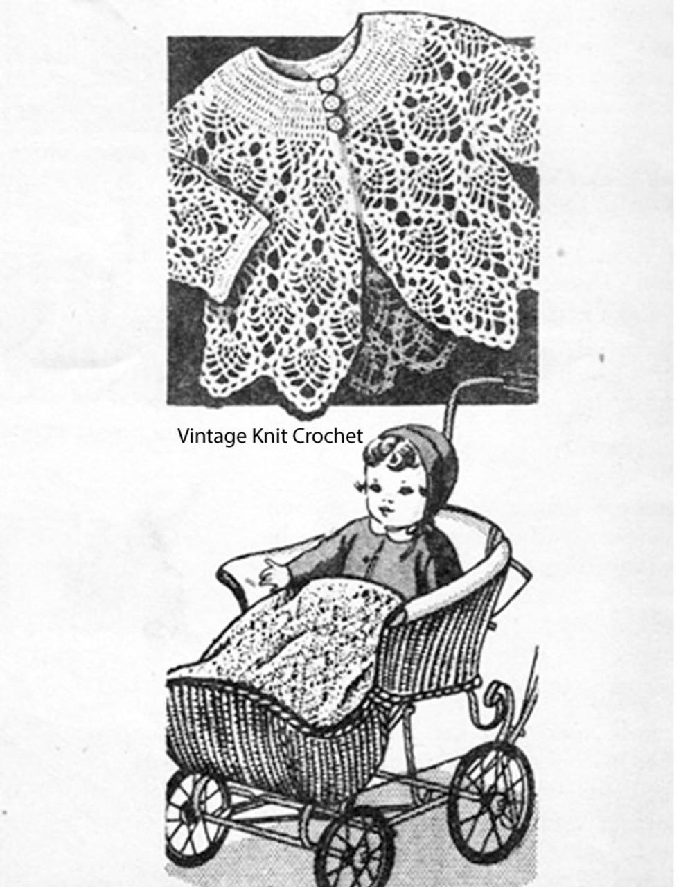 Vintage Baby Jacket Crochet Pattern, Pineapple Stitch Design 3185