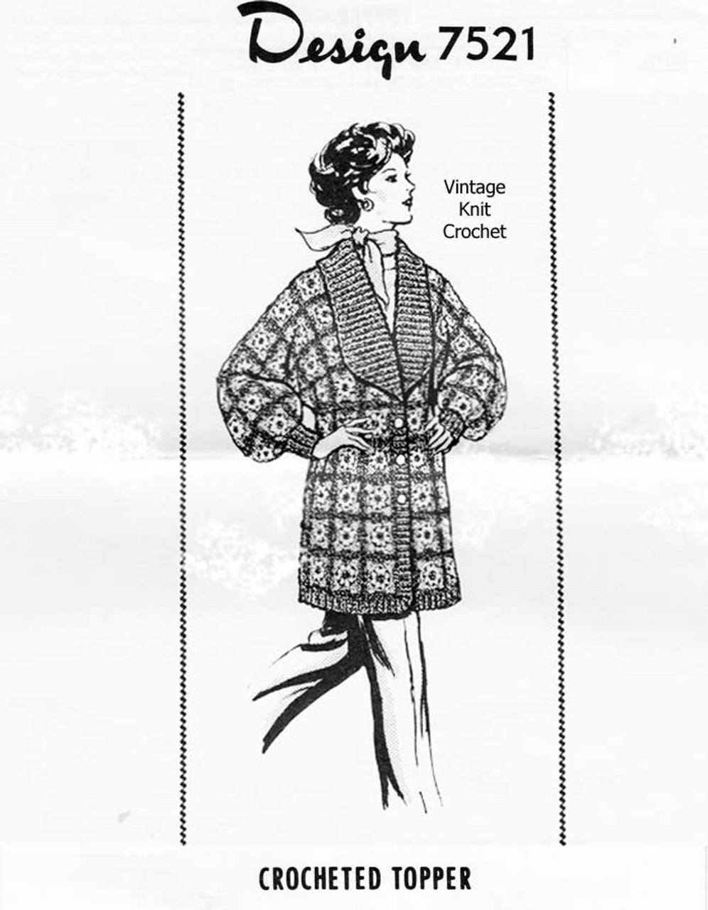 Granny Square Crochet Coat Pattern Design 7521