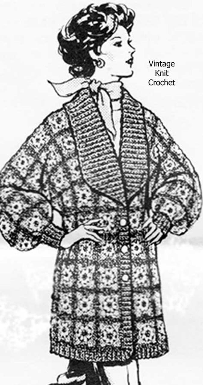 Shawl Collar Crochet Granny Coat Pattern Mail Order 7521