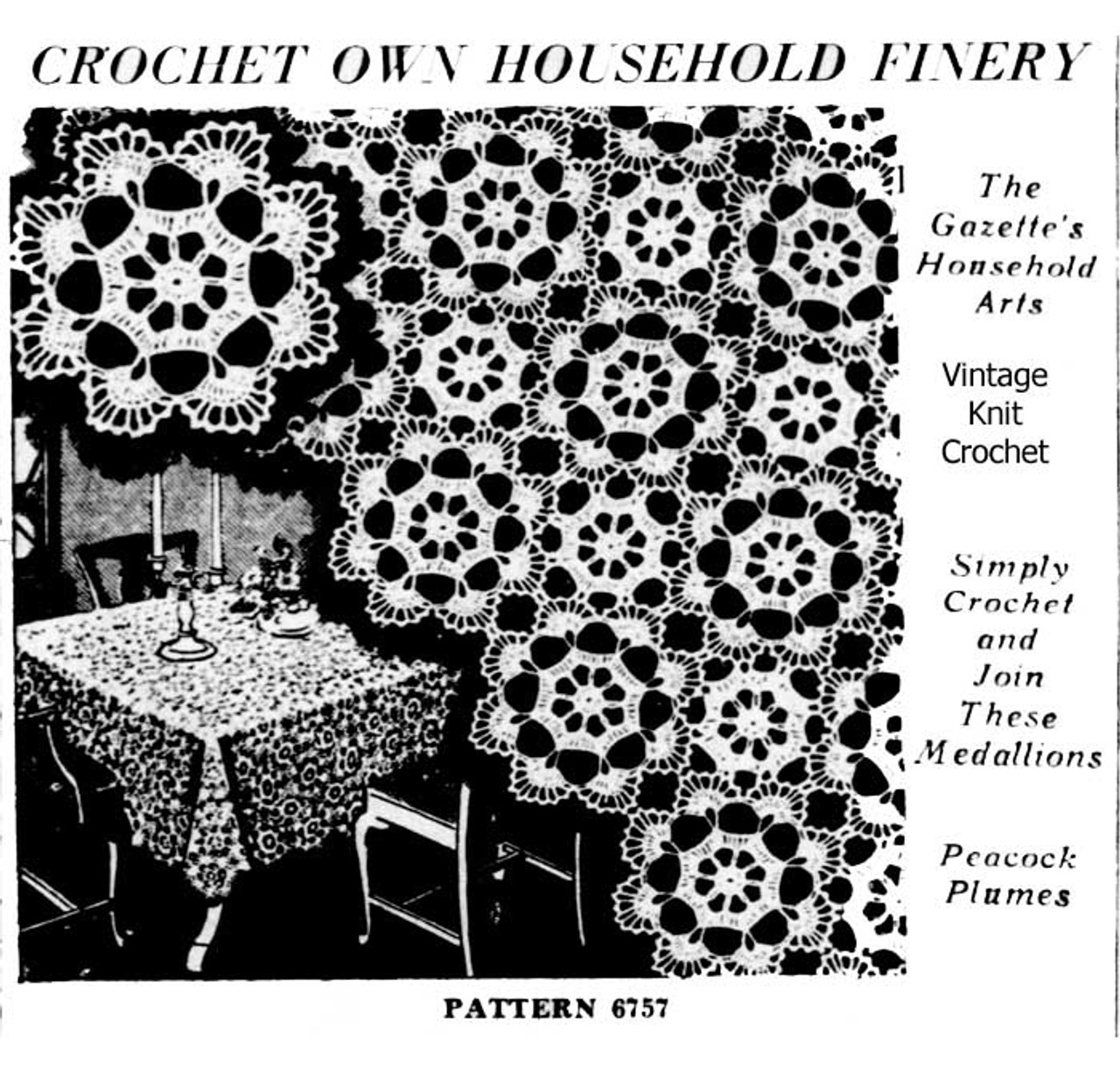 Crochet Peacock Plumes Tablecloth Pattern Medallion No 6757
