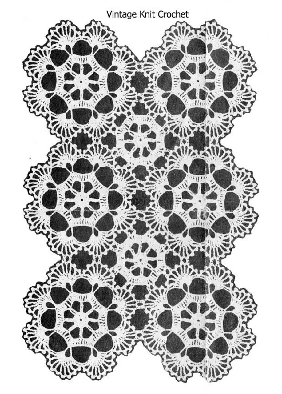 Vintage crochet medallion illustration, Alice Brooks 6757