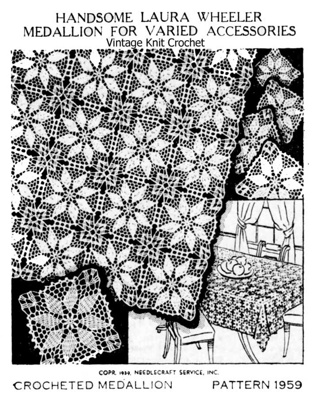 Vintage Crochet Star of the Morning Medallion Design 1950