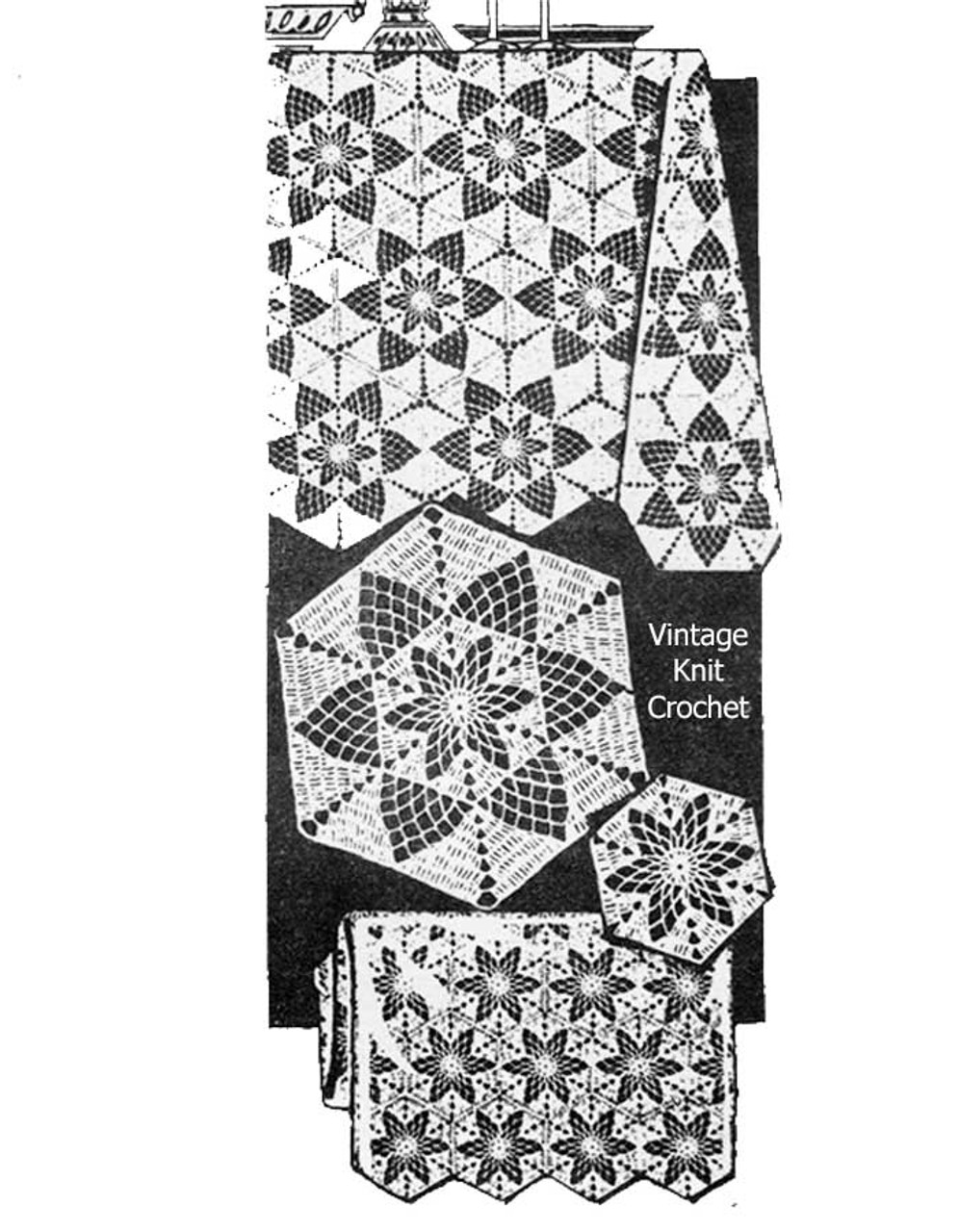 Vintage Star Tablecloth Medallion Pattern Alice Brooks Design 7309