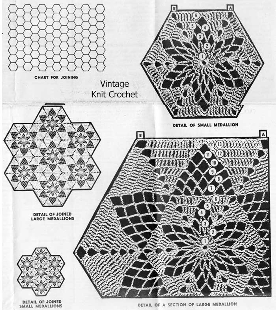 Crocheted Medallions illustration of pattern stitch Design 7309