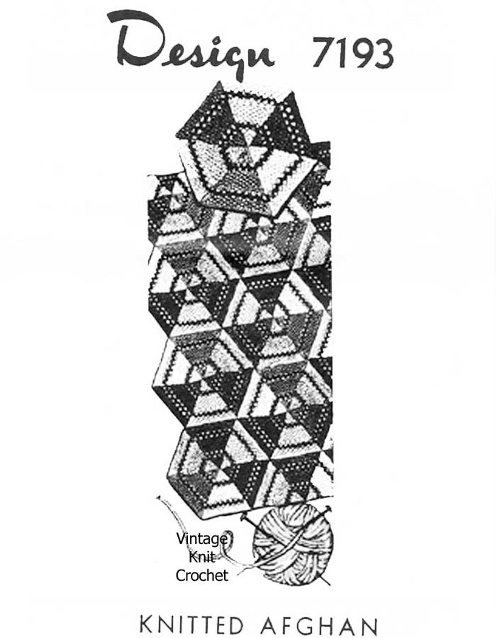 Vintage Afghan Knitting Pattern, Hexagon Medallions Design 7193