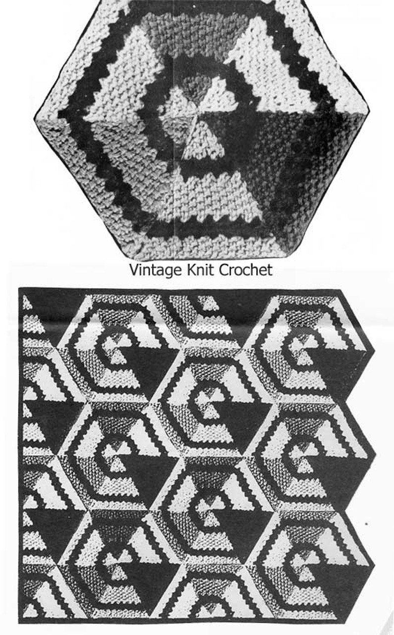 Hexagon Medallion Knitting Pattern, Blanket Afghan Design 7193