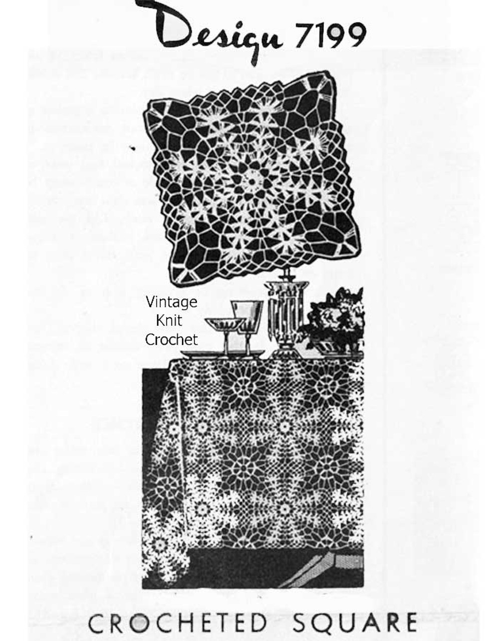 Bedspread Square Crochet Pattern Design 7199