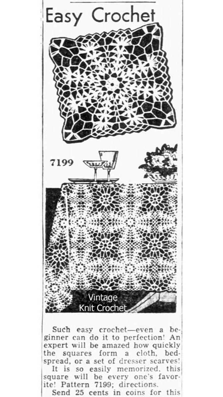Alice Brooks 7199 Crocheted Square Newspaper Advertisement