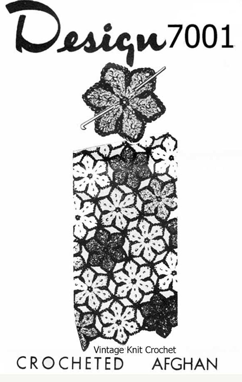 Flower Motif Crochet Afghan Pattern, Design 7001