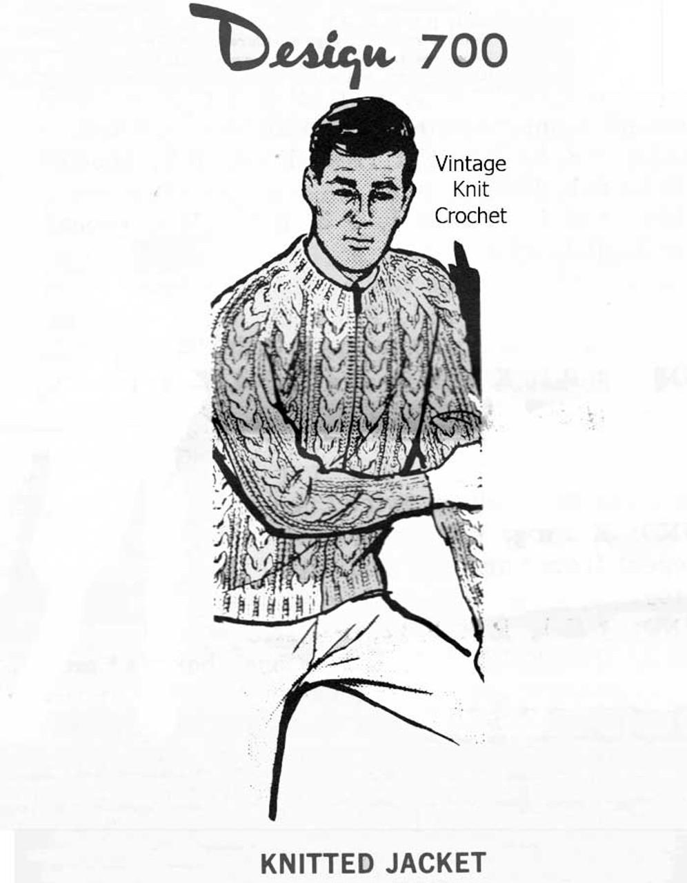 Mens Cable Jacket Knitting Pattern, Laura wheeler Design 700