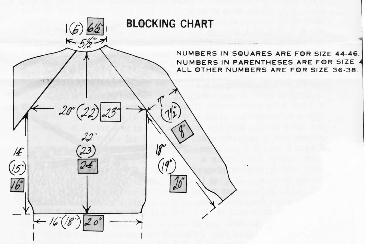 Design 700 Blocking Chart, Mans Knitted Jacket