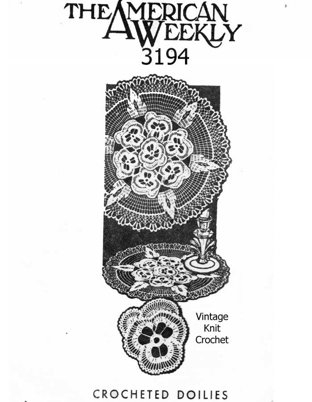 Mail Order Crochet Pansy Doily Pattern Design 3194