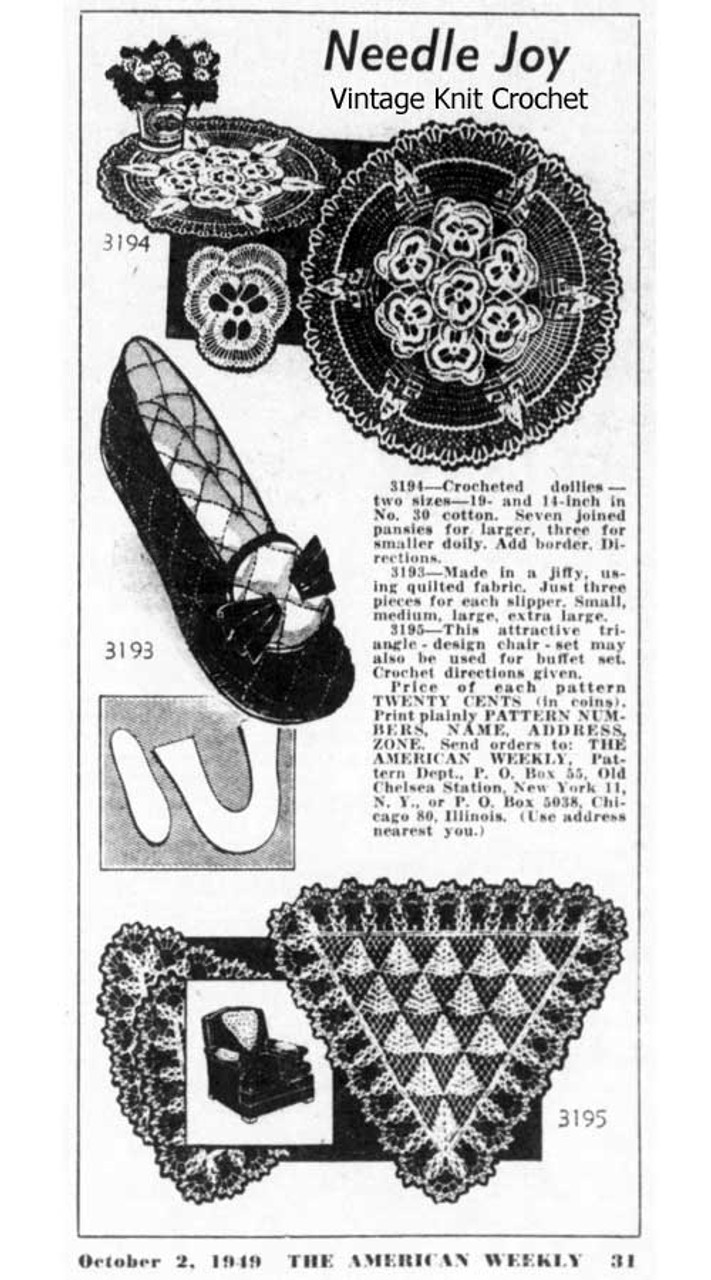 American Weekly 3194 Newspaper Advertisement for Pansy Doily