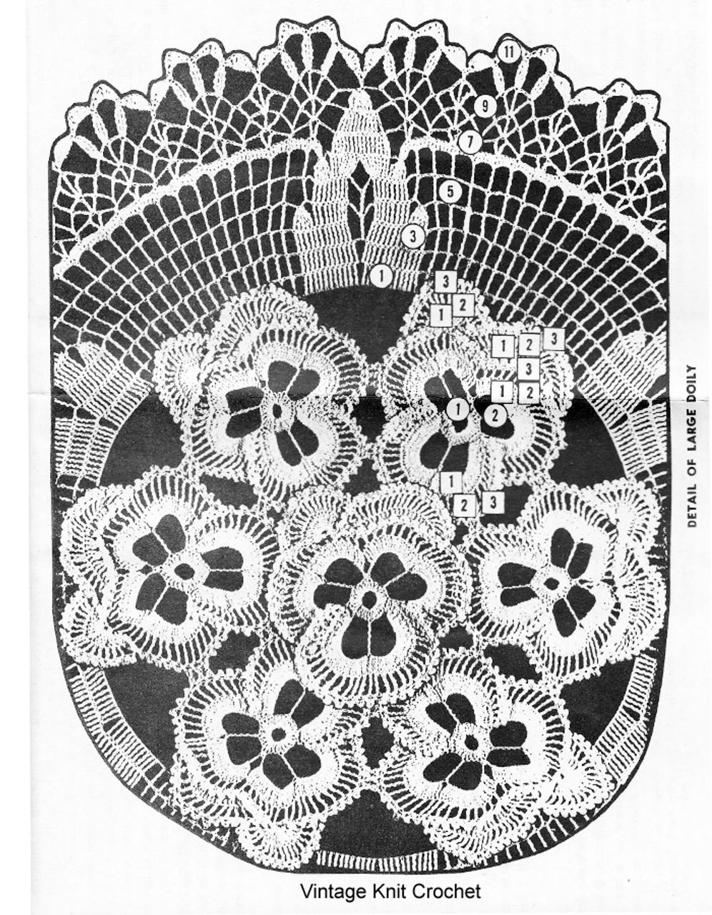 Pansy Doily Crochet pattern stitch illustration No 3194