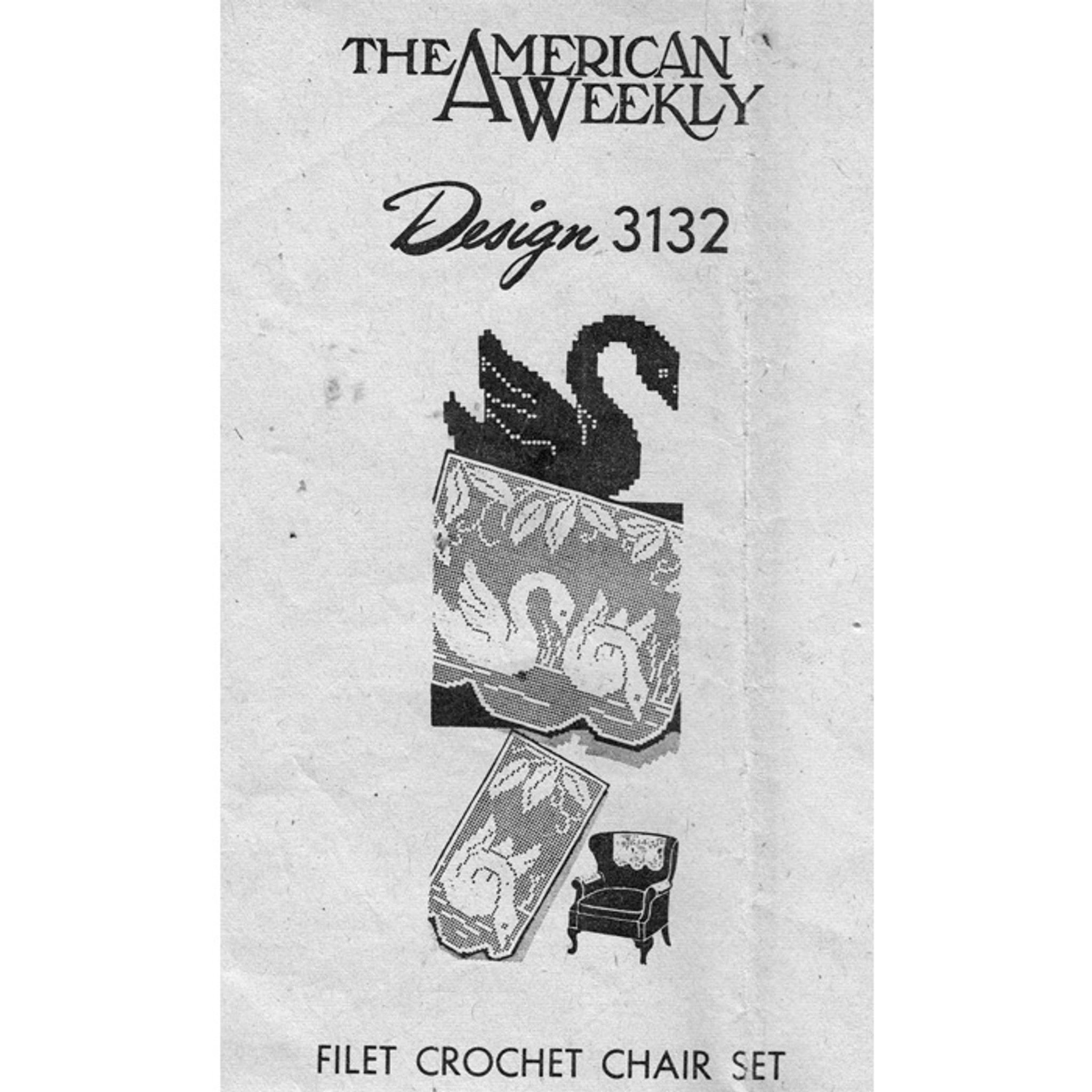 Vintage Filet Crochet Pattern ~ Swan Chair Set