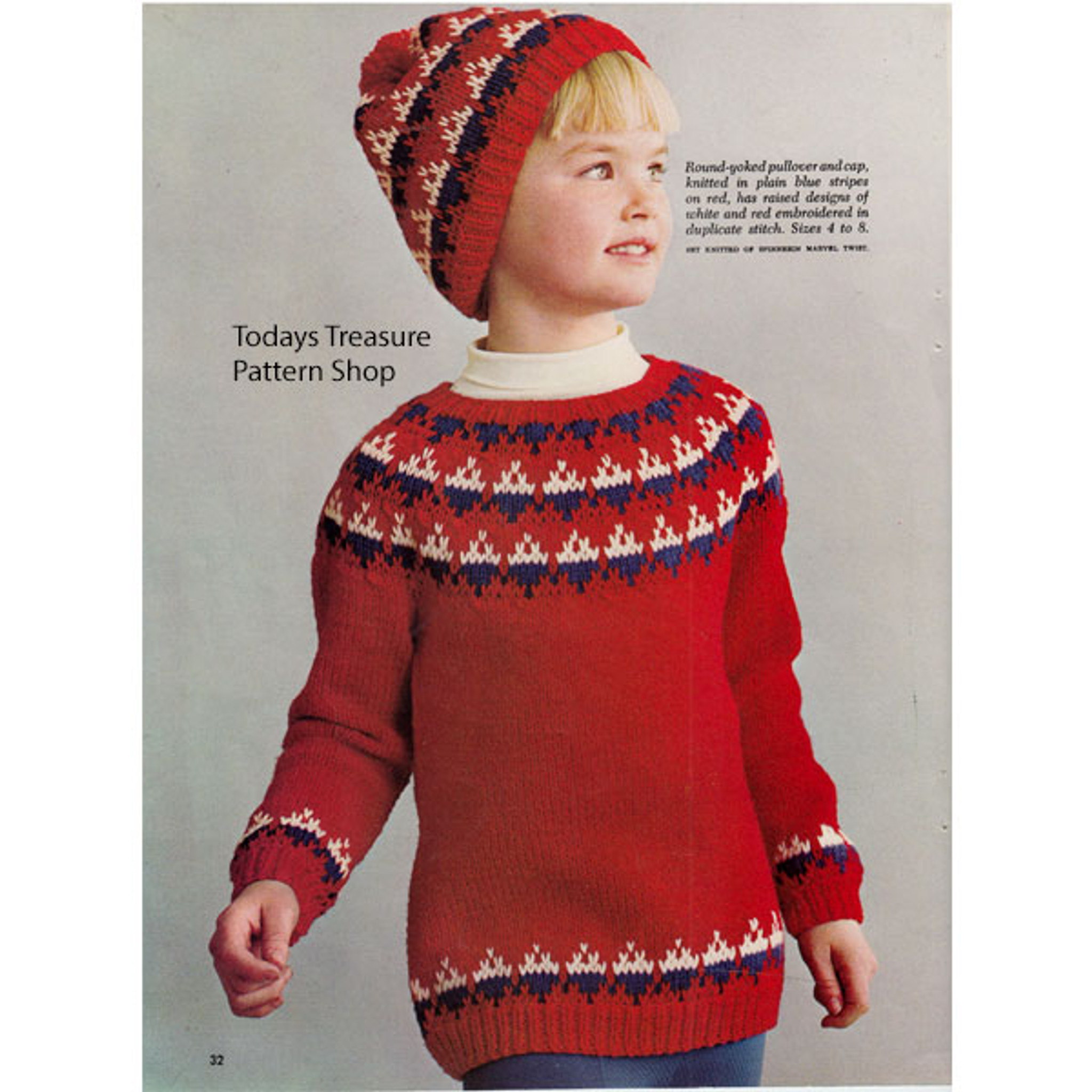 Girls Knitting Pattern Pullover Sweater And Cap