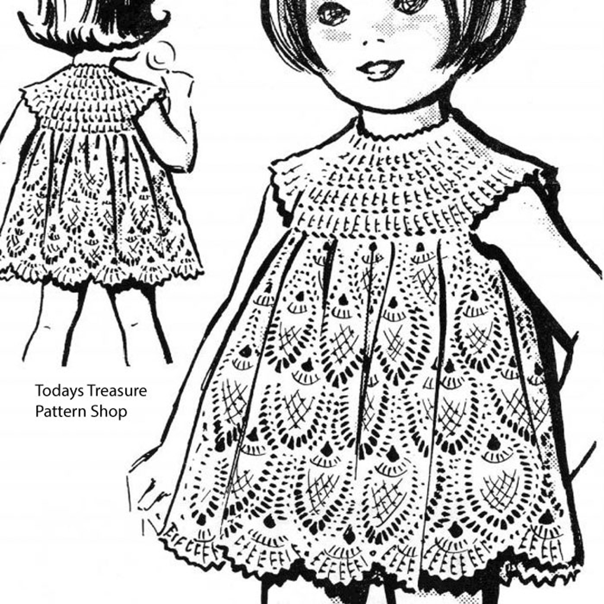 Crocheted Girls Pineapple Dress Pattern No 5614