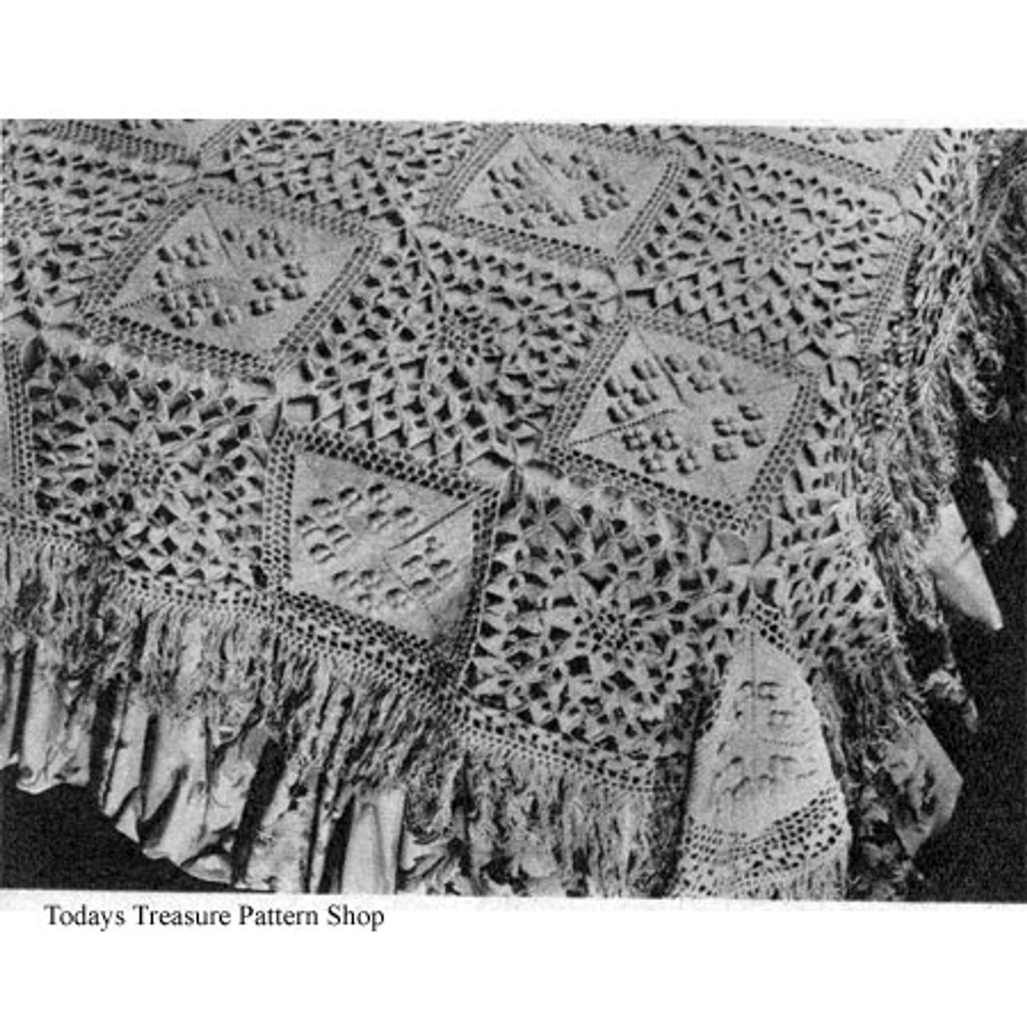 Vintage Crochet PATTERN MOTIF Block Bedspread S Popcorn