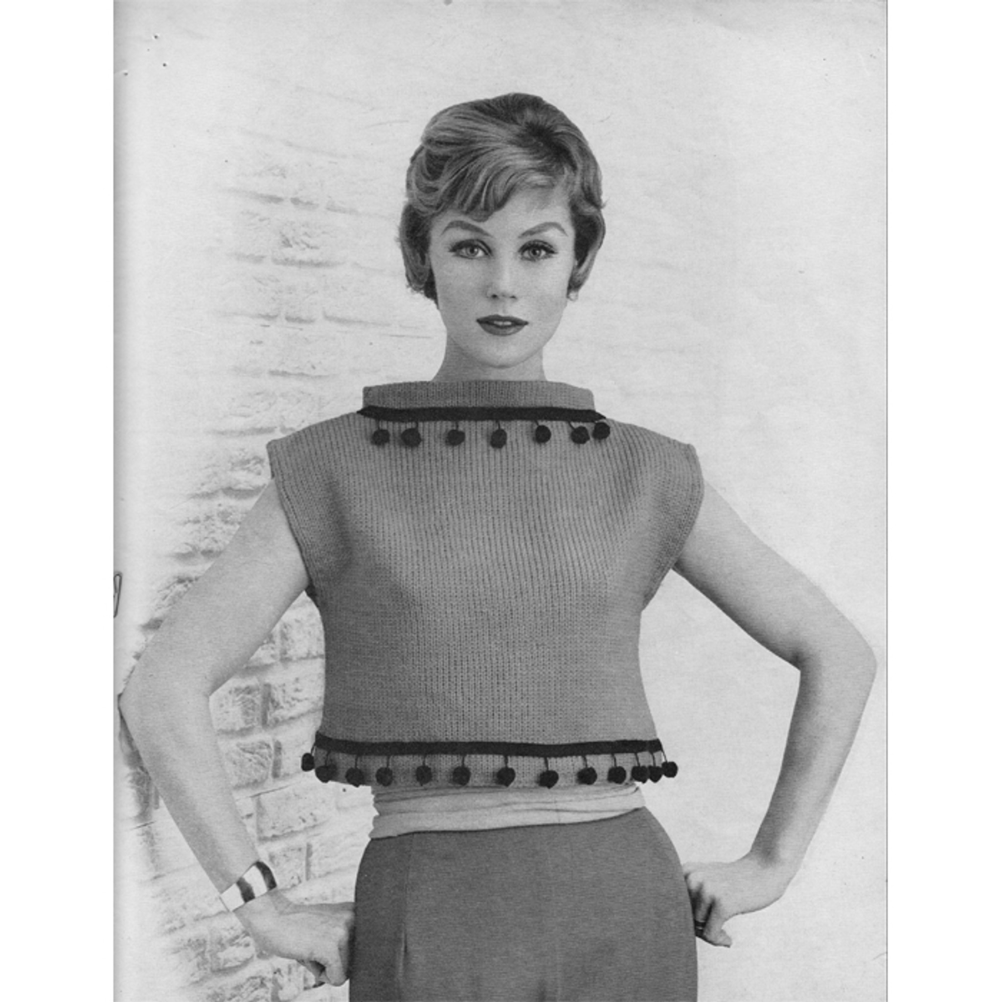 Vintage Knitting PATTERN Cropped Shorty Jacket Sweater