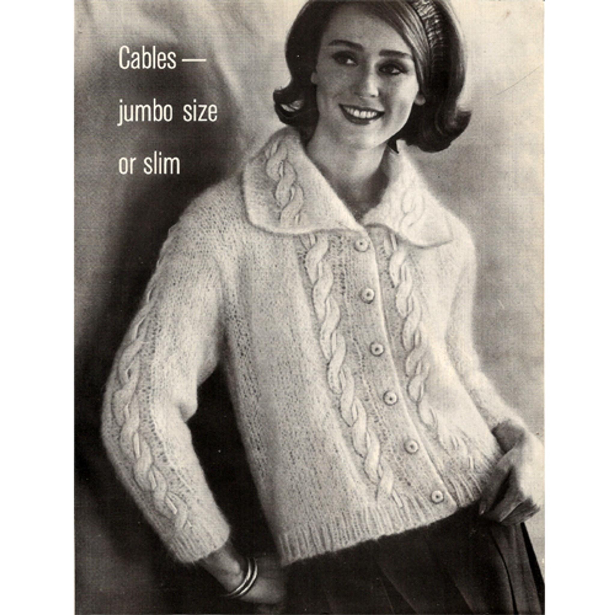 Mohair Ribbon Cable Cardigan Knitting Pattern Small Medium Large