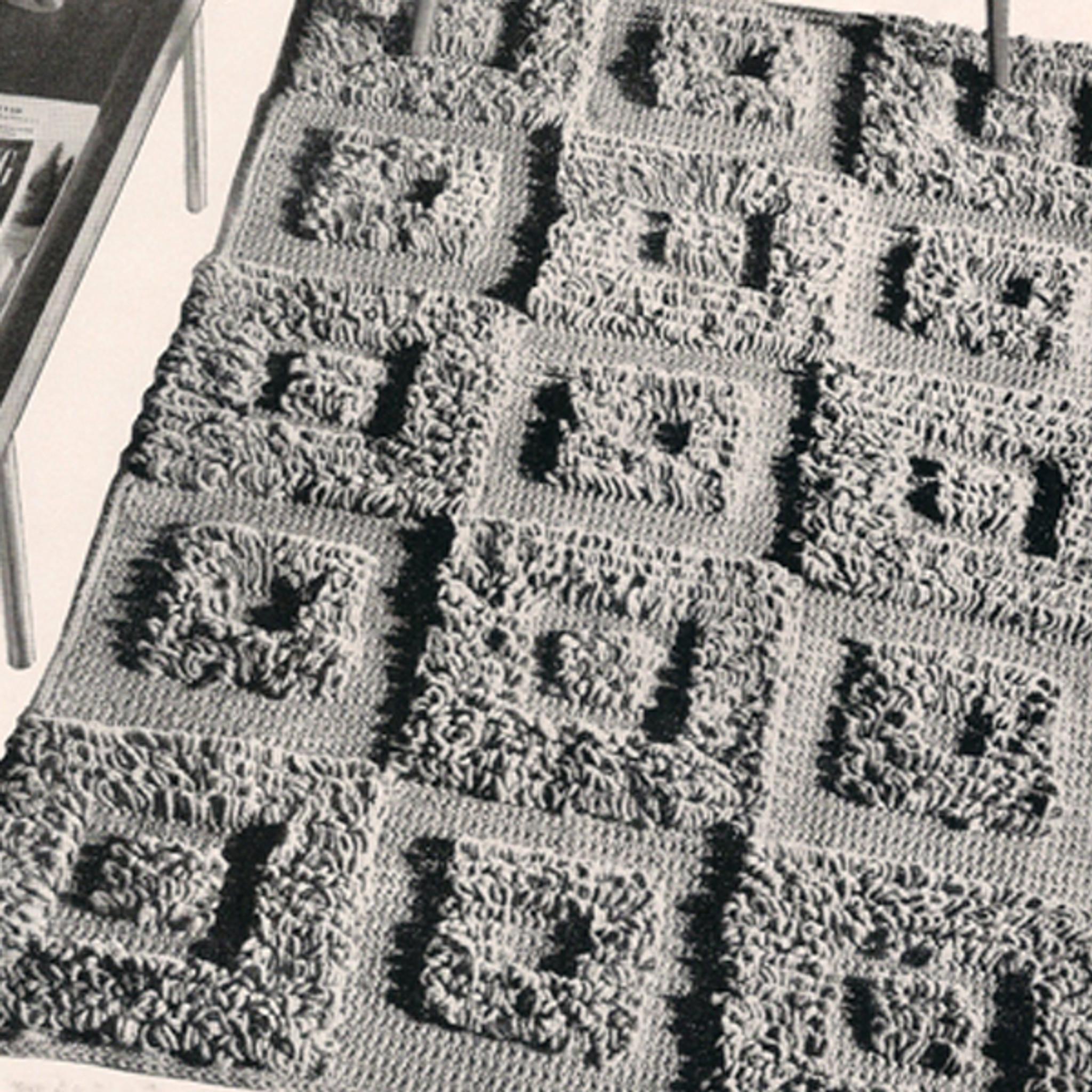 Square Blocks Loop Stitch Crochet Rug Pattern Contemporary