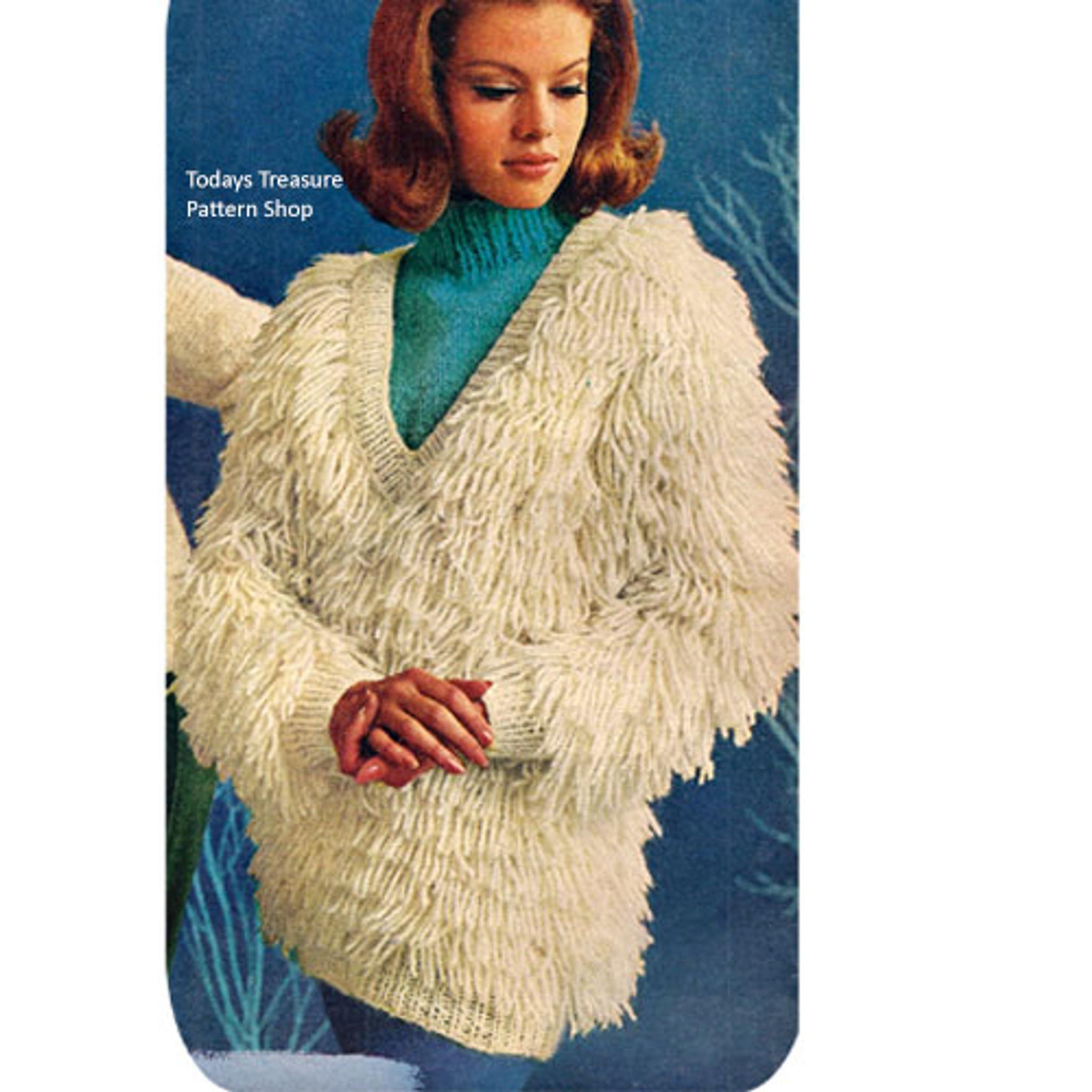 619624bded61 V-Neck Shaggy Pullover Knitting Pattern Vintage 1960s Loop ...