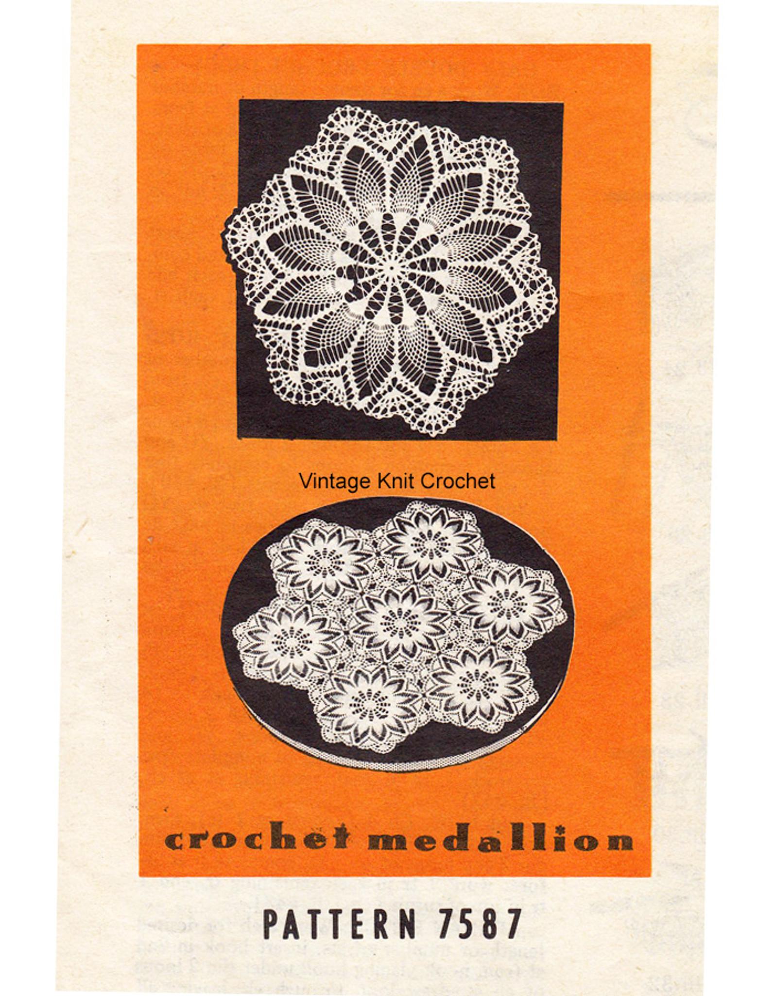 Crochet Pineapple Medallion, Mail Order 7587
