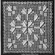 Filet Crocheted Square for Bedspread Pattern