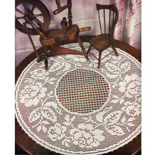 Large Round Rose Filet Crochet Doily Pattern