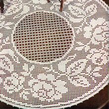 Round Rose Bordered Filet Crochet Doily Pattern
