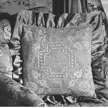 Filet Crochet Pillow Pattern, Rose Motif