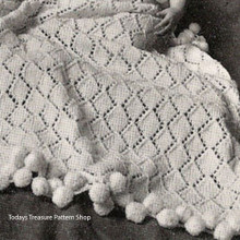 Vintage Knitted Baby Blanket Patter in Diamond Motif from American Thread