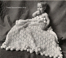Diamond Knit Baby Blanket Pattern with Pompom border
