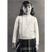 Girls Vintage Aran Knit Cardigan Pattern