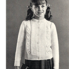 Vintage Aran Knitted Cardigan for Girls from Coats & Clarks