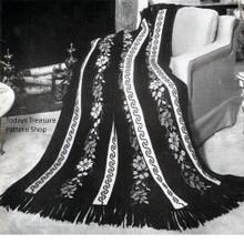 Flowered Greek Key Crochet Afghan Pattern