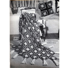 Starfish Crochet Afghan pattern, Vintage 1960s