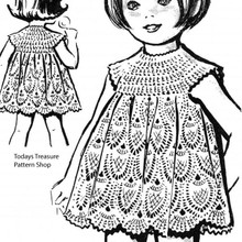 Crocheted Girls Pineapple Dress Pattern No 5614