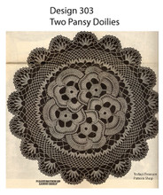 Vintage Pansy Doily Detail with Scalloped Edges