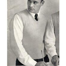 Mans Knitting Pattern, Vintage Pullover Vest