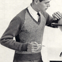 V-Neck Tweed Mens Knitted Pullover Pattern