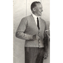 Vintage Mans Cardigan Knitting Pattern from Columbia Minerva